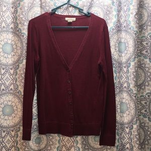 Forever 21 maroon button-down cardigan